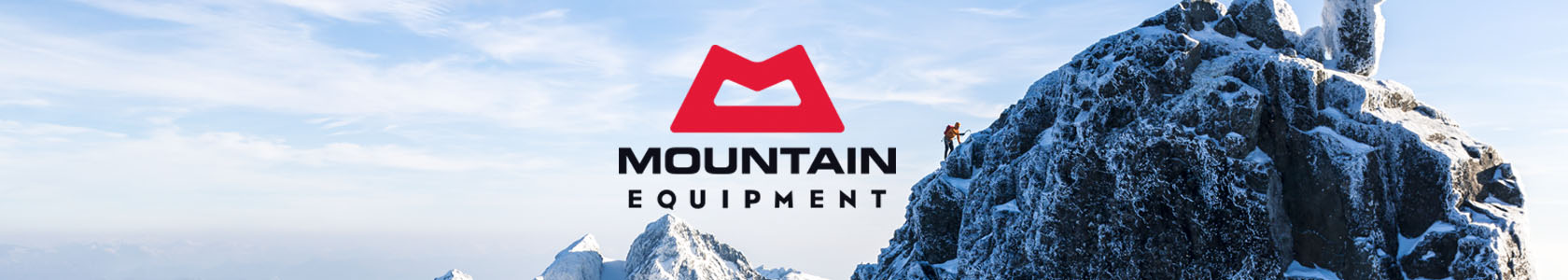 Rocks and snow with the Mountain Equipment brand logo in the middle.