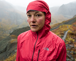 Woman in a north face jacket