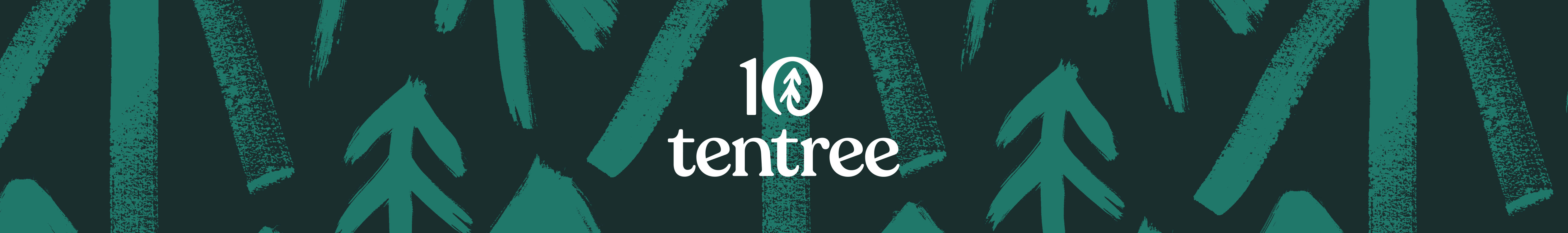 Pictures of green trees on the background with the Tentree brand logo in the middle.