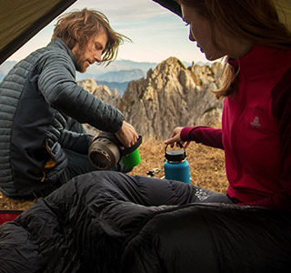 A couple in a MSR tent