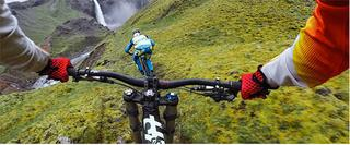 Image of riding bikes down a mountain from riders' perspective taken with a GoPro