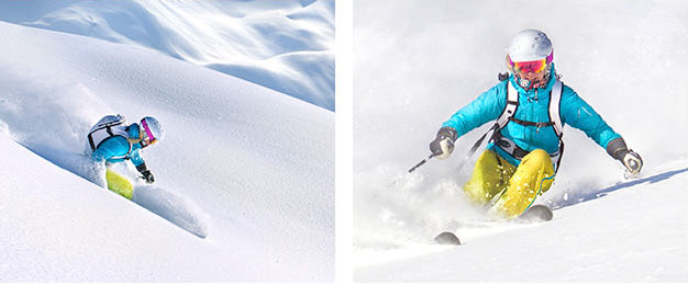 Two images of a skier trans-versing through powdered snow at different angles