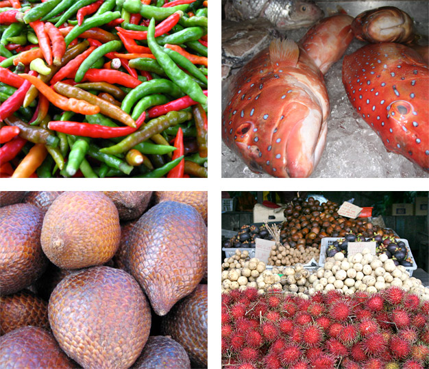 Chillis, Fish, Salak and Skin Fruit