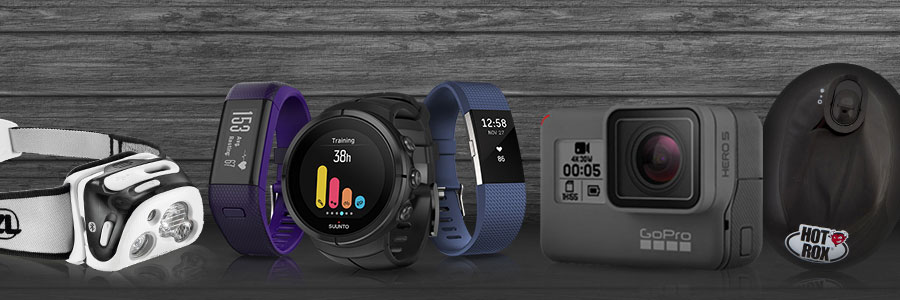 A selection of different gadgets for active people, including GoPro, Fitbit, Hot Rox