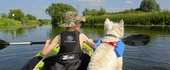 Boy and Dog in paddle boat